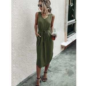 Army Green Drawstring Waist Midi Casual Dress